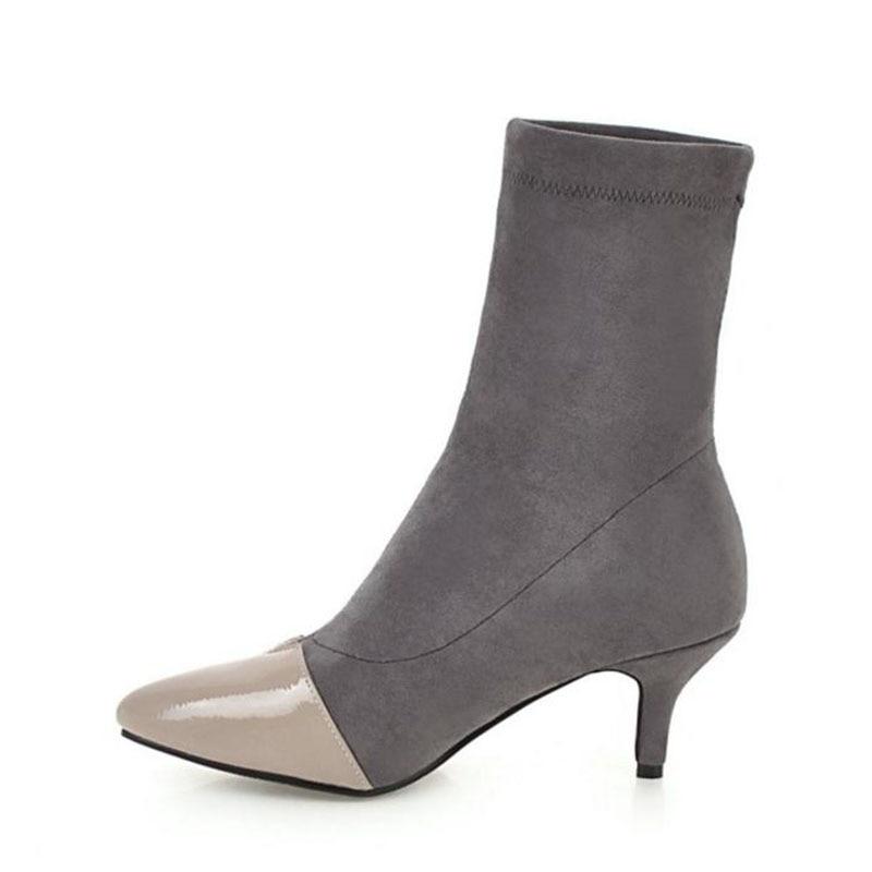 Botas Piel Mujeres Mezclado Zapatos Mujer Lebaluka Punta 33 En Invierno Estiramiento gris Negro Pantorrilla De Color Calientes Mediados Pie Altos 43 Dedo Tacones Del IfqXp