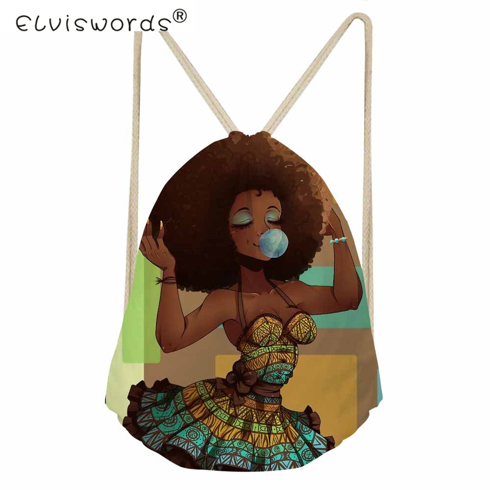 ELVISWORDS Afro Girls Women Drawstring Bag Black Art African Traditional Tribal Ethnic Female Backpack Lady String Shoulder Bags