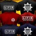 Летние Мужчины Великобритания LFB Лондон Пожарные Пожарный Пожарные Спасают Футболка Новый Бренд Одежды Повседневная Печати О Шея Рубашка