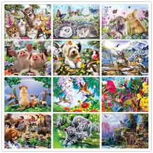 5D DIY round diamond embroidery animal family cat and dog pattern  cross stitch mosaic painting