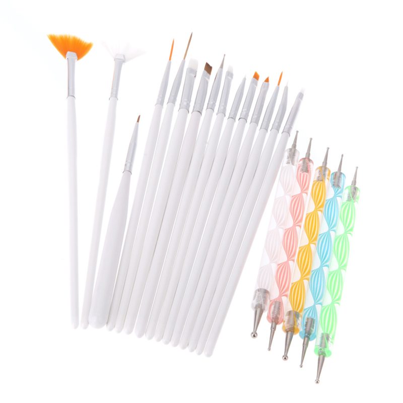 1Set Professional Nail Brushes Design Painting Nail Art Dotting Pen Set Brushes For Manicure Rhinestones Nail Design Extensions 5pcs nail art tool dotting painting transparent plastic marbleizing pen for beauty