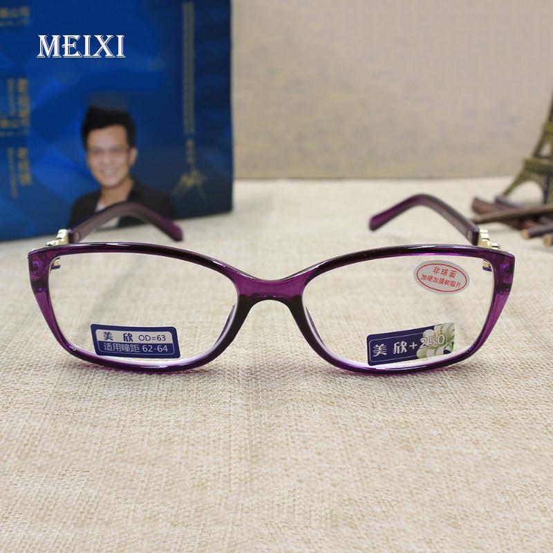 Lesebrillen Schneidig Frauen Hd Beschichtung Strahlenschutz Voll Lila Rahmen Glas Linsen Lesebrillen Brillen 1,0 1,5 2,0 2,5 3,0 3,5 4,0 Damenbrillen