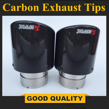 1 Piece: 114MM Outlet Stainless car glossy Carbon Fiber Car Exhaust Tip tailpipe car-styling exhaust muffler tip Akrapovic