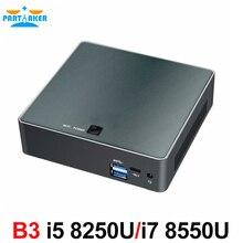Partaker B3 كمبيوتر مصغر 8th Gen إنتل كور i7 8550U i5 8250U رباعية النواة DDR4 كمبيوتر مصغر Plam كمبيوتر مصغر مع HDMI Type c حتى 4GHz