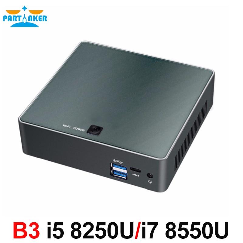 Partaker B3 Mini PC 8th Gen Intel Core i7 8550U i5 8250U Quad Core DDR4 mini pc Plam mini Ordinateur avec HDMI type-c jusqu'à 4 ghz