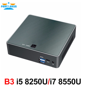 цена на Partaker B3 Mini PC 8th Gen Intel Core i7 8550U i5 8250U Quad Core DDR4 mini pc Plam mini Computer with HDMI Type-c up to 4GHz