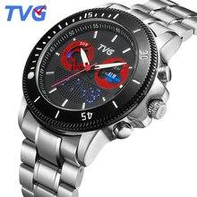 Sports Quartz watches Top luxury TVG Brand Mens Wristwatch Stainless Steel waterproof Analog Digital Dual time display for men