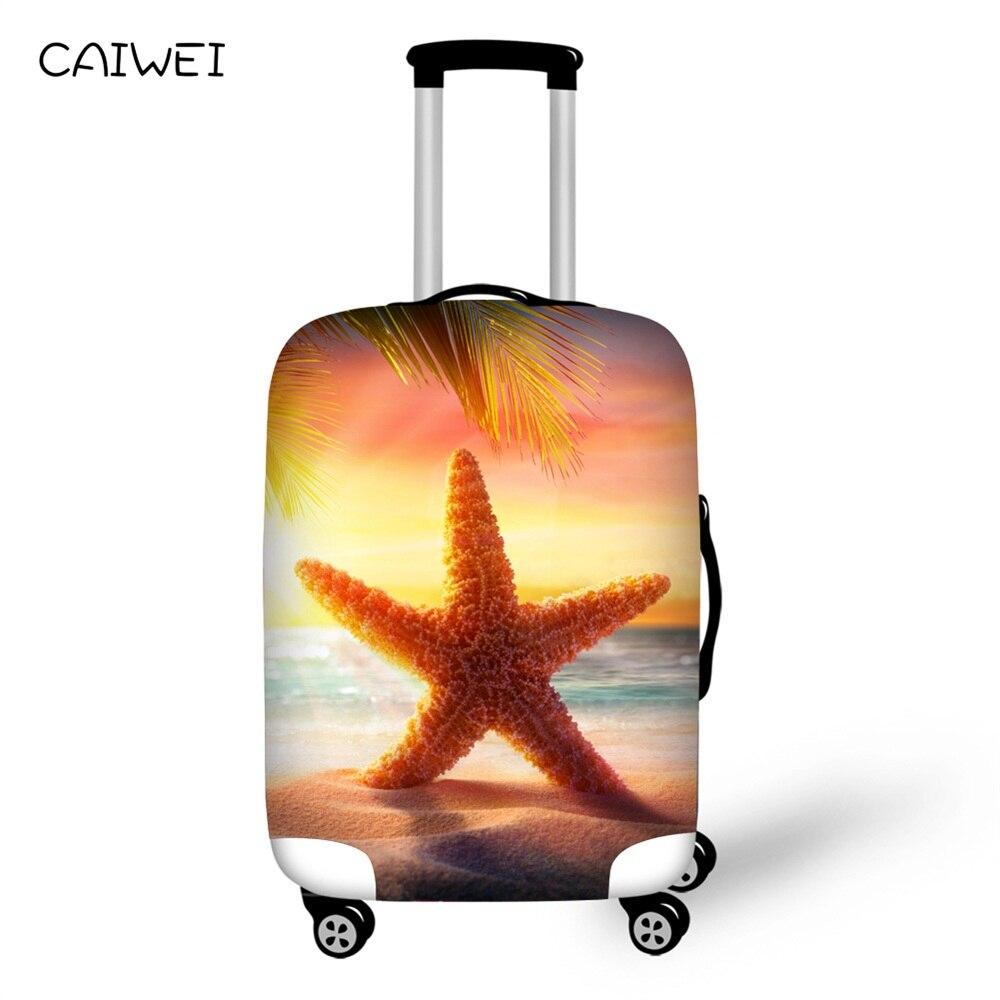 Эластичные Сгущает путешествия чемодан защитная Чемодан крышка пляж Starfish оболочки для 18 -30 чемодан случае, дорожные аксессуары