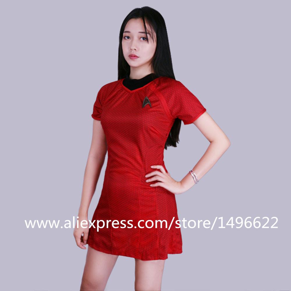 Cosplay Star Trek Into Darkness Star Fleet Uhura Costume Dress Cosplay  Red Halloween Uniform