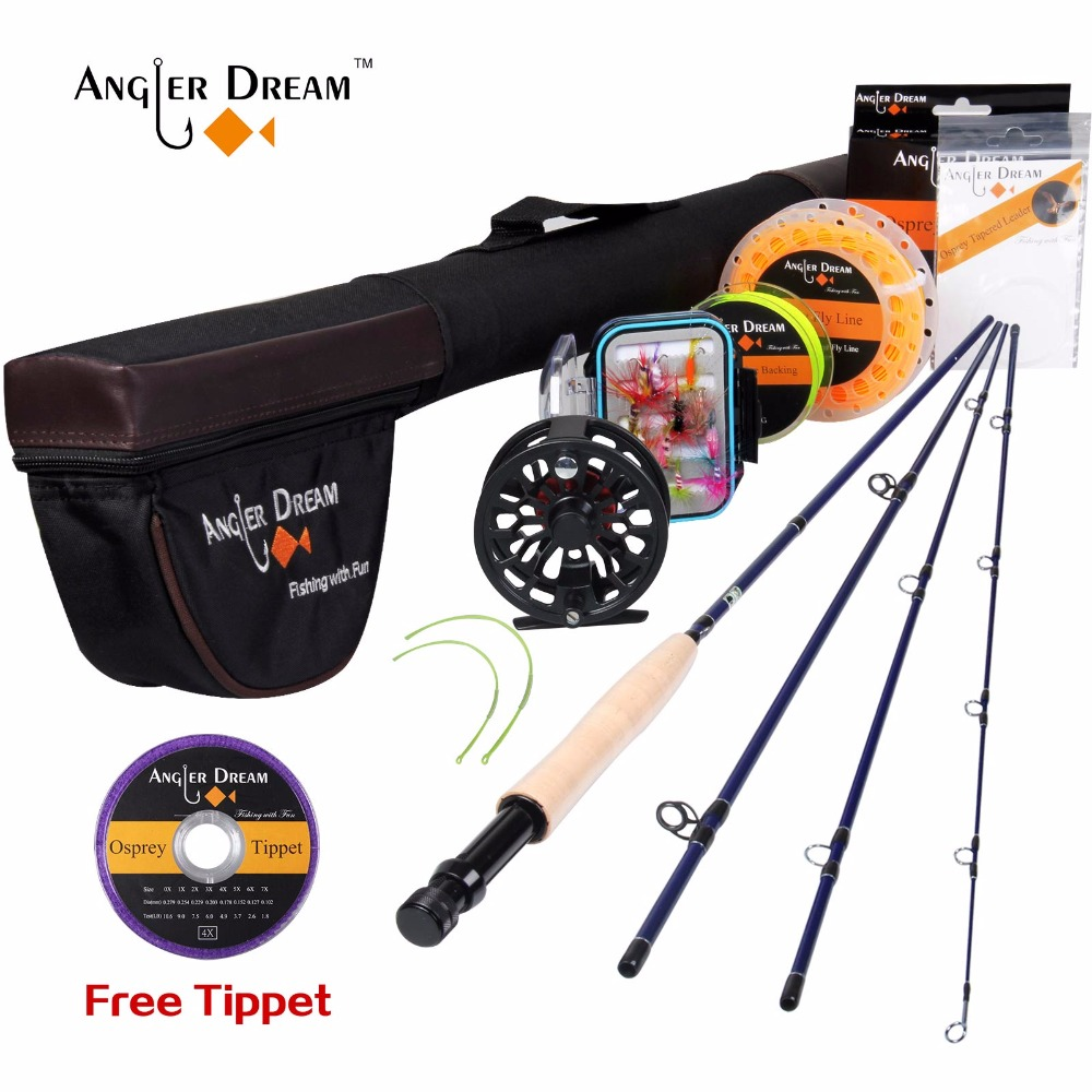 Angler Dream Fly Fishing Rod And Reel Combo Set 3/4 5/6 WT Rod Combo With Fly Line Fly Lures Full Kit With Bag angler dream fly fishing combo 3 4 5 8wt carbon fiber fly rod kit cnc machined fly fishing reel