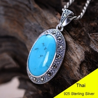 925 Sterling Silver Pendant Blue Turquoise Women Thai Silver Fine Jewelry Gift Necklace Accessories DIY Kit