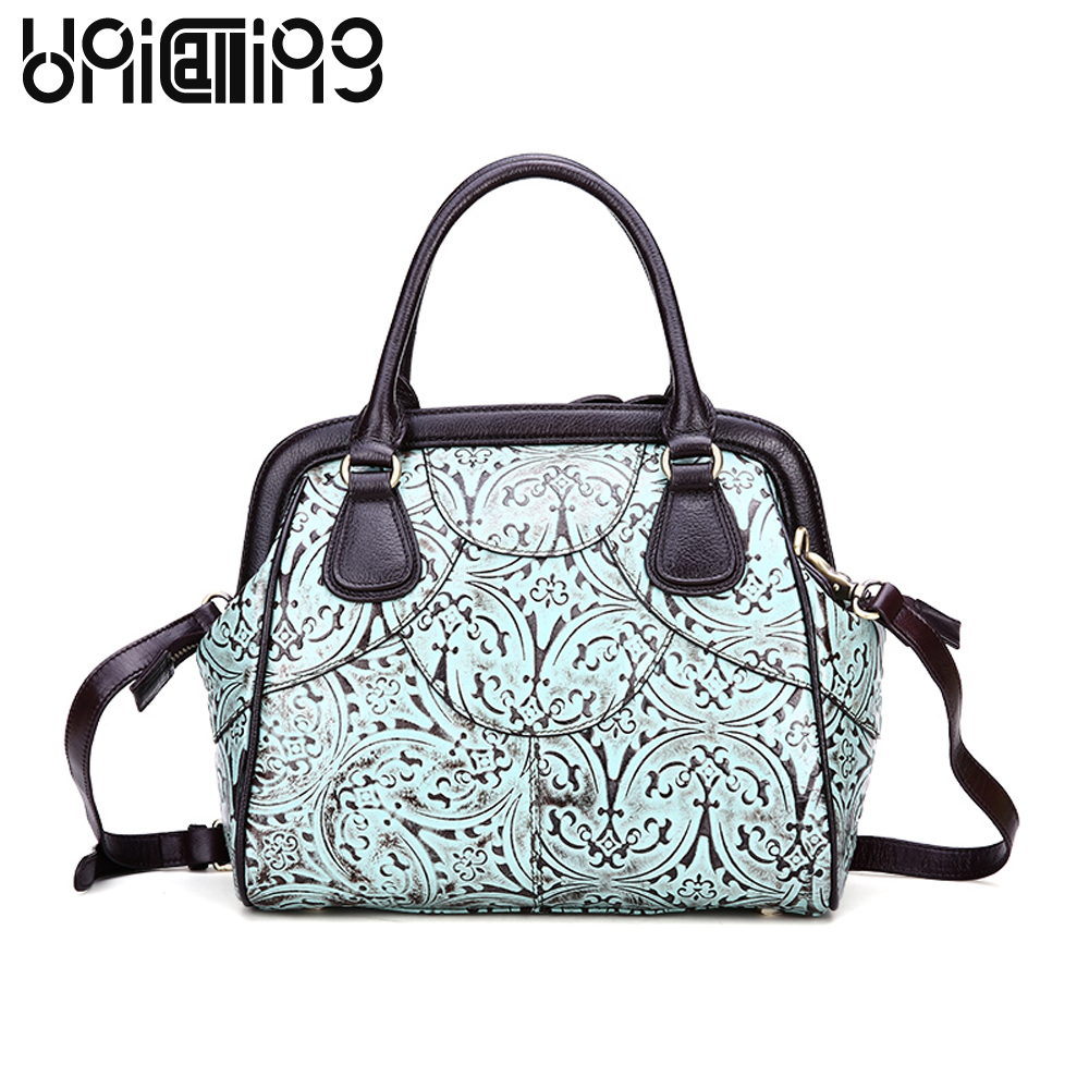 New style Retro Real Cow Leather Ladies Handbags Genuine Leather Embossed women messenger bags Fashion mini big Shell bag