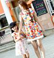 Colorful Chiffon FAMILY Dress New Summer Woman Girl Dresses Kids Girls short sleeves dress