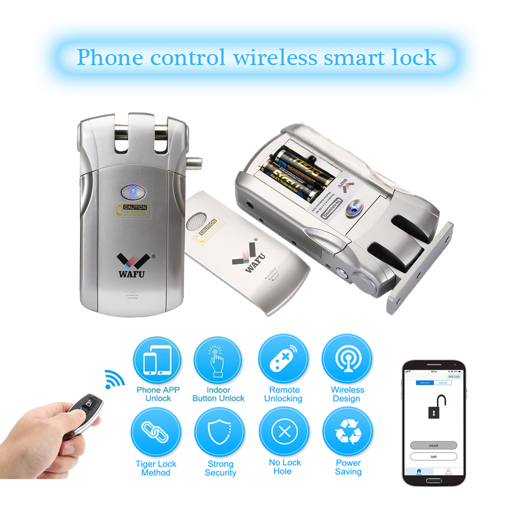 Wafu WF-018 Wireless Invisible Smart Lock Remote Control Electronic Keyless Door Lock 433MHz Phone Control Fingerprint Locks