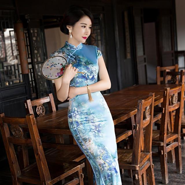 Jurk Elegante Vrouwen Lange Cheongsam Chinese Mode Dames Klassieke nk08wOXP