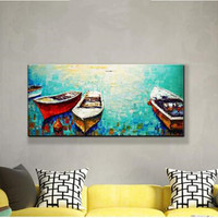 Hand Painted Abstract Seascape Oil Paintings Large Landscape Canvas Painting Home Decor Wall Art Modern Knife Boats Pictures