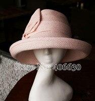 Summer Paper Braid Straw Bow Bucket Hats For Women Wide Brim Sunbonnet Hats Female Chapeu Fedoras Free Shipping ELDS007