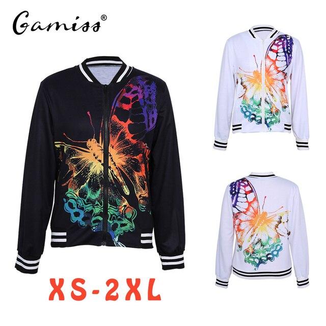 Gamiss moda estilo mujer señoras mariposa impresión manga larga biker  chaqueta abrigo corto impreso floral zip 818059a8c4289