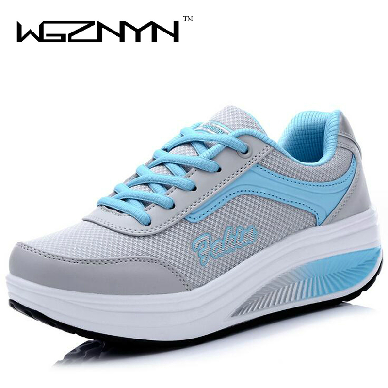 WGZNYN 2018 New Summer Zapato Woman Pustende Mesh Zapatillas Sko For Women Sneakers Casual Shoes Flats EUR Størrelse 35-40
