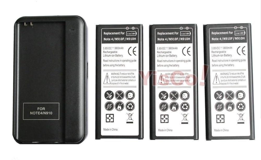 imágenes para 3x3800 mah eb-bn910bbe (k/u) reemplazo de la batería + cargador para samsung galaxy note iv 4 n910 n910f n910s n910h n910u n910l