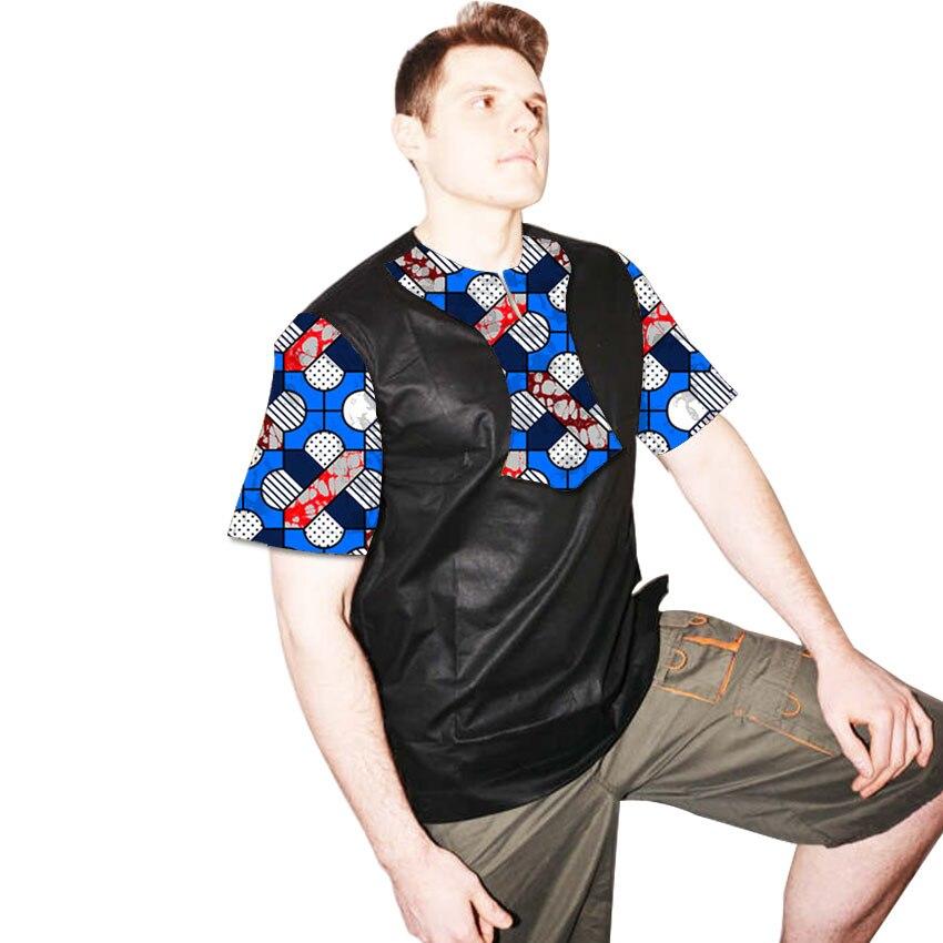 Latest Fashion Short Sleeve Print Tops Men African font b t shirt b font Patchwork Dashiki