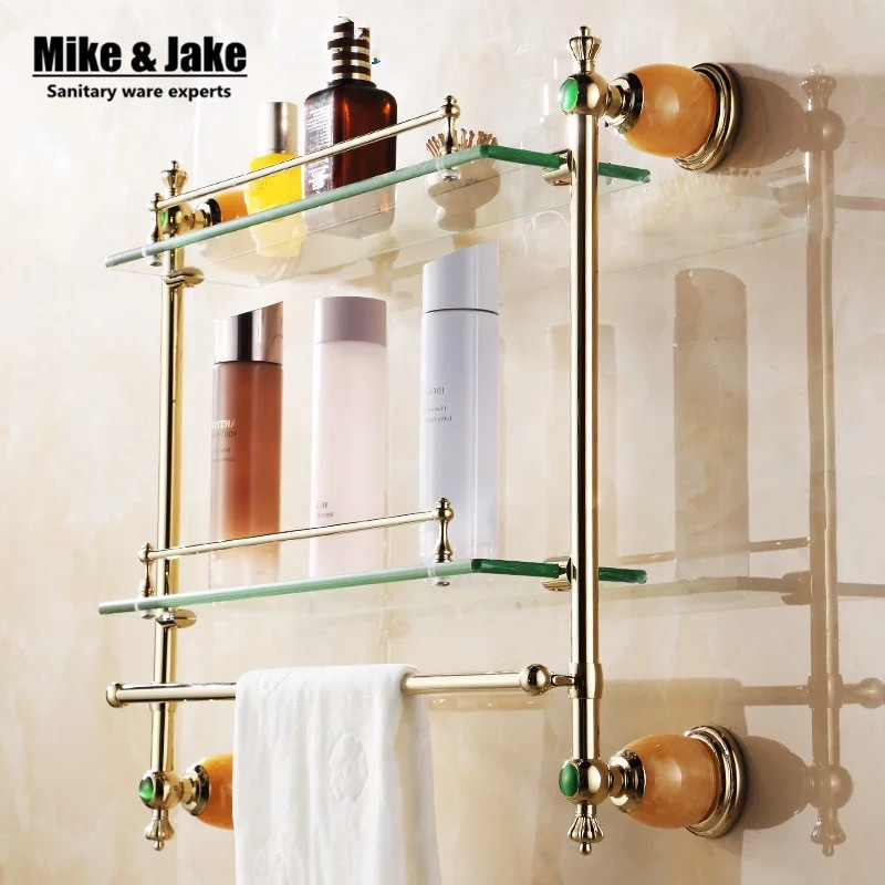 Bathroom Accessories bathroom glass shelf Golden Finish With Tempered Glass,double Glass Shelf bathroom shelf bathroom accessories solid brass golden finish with tempered glass crystal double glass shelf bathroom shelf free shipping 6314
