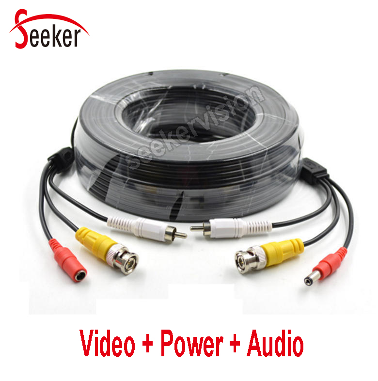 Free Shipping Video Power Audio 3 In 1 Extesion Cable  Coaxial HD 5M / 10M / 20M / 30M Audio Video Power AV Black CCTV Cable