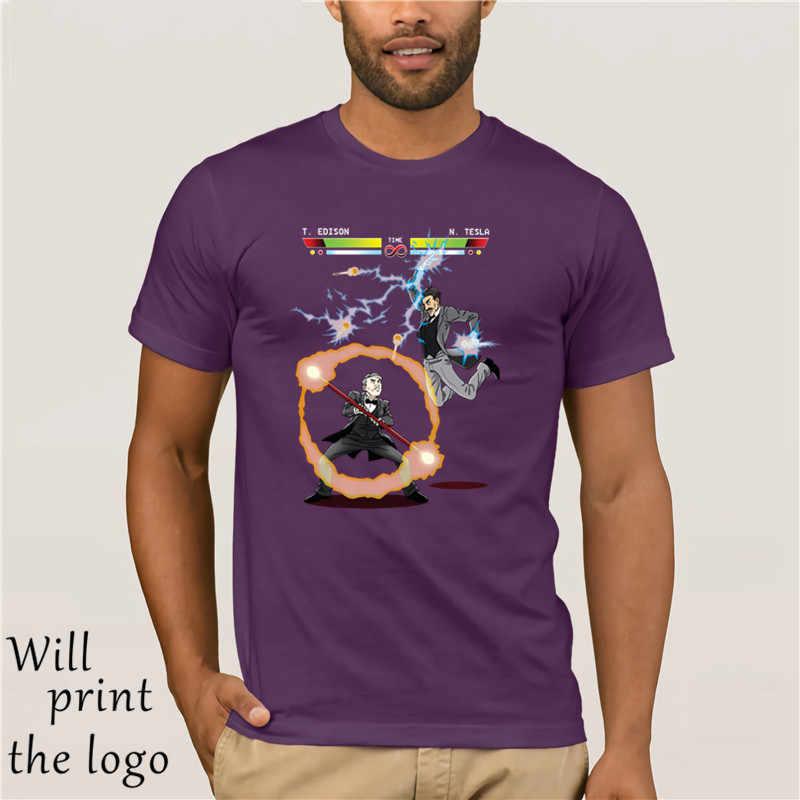 2018 новые футболки из 100% хлопка для мужчин, хип-хоп starnger things Edison vs Tesla, лучшая футболка, летний бренд, фитнес, бодибилдин