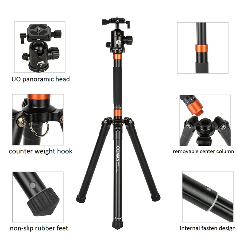 Ulanzi COMAN Portable Travel Tripod Aluminum Alloy Lightweight 62.2'' with 360 Ball Head for DSLR Camera Youtube Videomaking original weifeng wt3770 portable lightweight aluminum alloy tripod with carrying bag for dslr slr camera