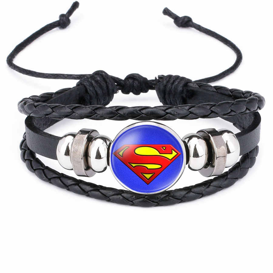 America Super Hero Superheroes Batman Spider-Man Iron Man Superman bracelet pins jewelry fashion women charms Leather bracelets