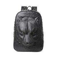 3D Tiger Animal Backpack Women Men Laptop Backpack Vintage Rock PU Leather Backpacks Fashion Travel School Computer Rivet Bags