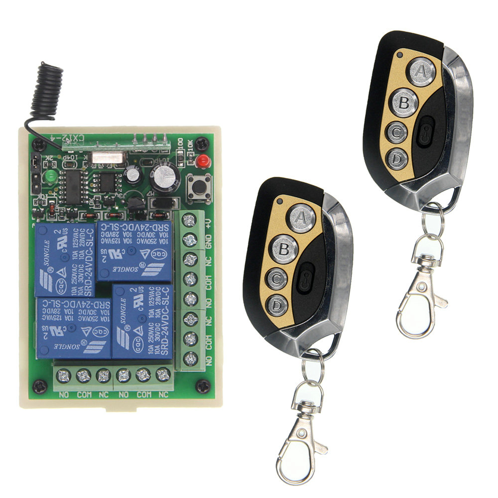 Smart Home DC 12V 24V 4CH 10A Relay Wireless Remote Control Switch Receiver+Transmitter,315/433.92 MHz ,Momentary