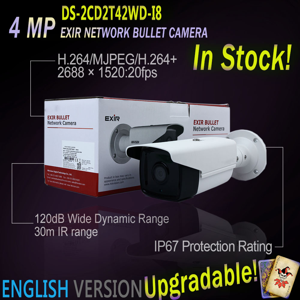 In Stock DS-2CD2T42WD-I8 English Version IP  4MP EXIR Bullet Camera POE IR 80m security replace DS-2CD3T45-I8 DS-2CD2232-I5 cam