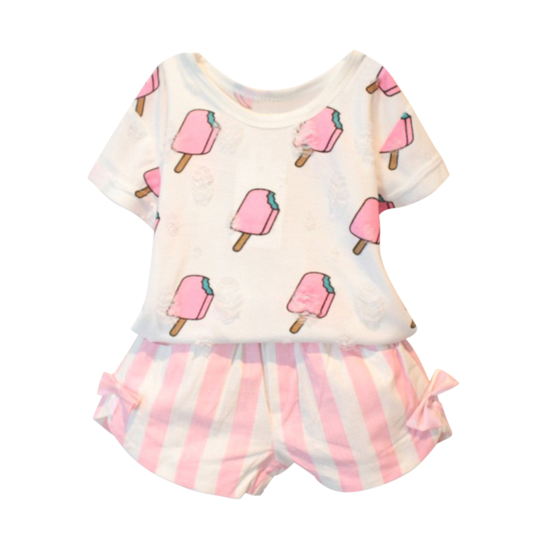 Kids Girls Clothing Set Summer Kids Girl Clothes Cute Ice Cream Hole T-shirt +Striped Bow Short Suit 2 Pcs Clothing Hot Selling