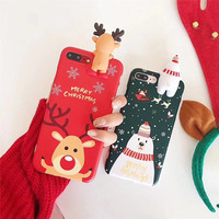 NEW FASHION 3D Papa Snowman DEER Cartoon High Quality Painted Soft Silicone Skin Back Cover Shell