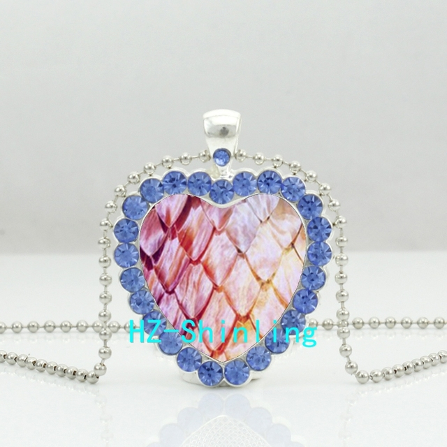 Game of Thrones Red Dragon Egg Heart Shape Crystal Pendant Necklace