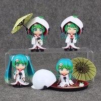 4pcs/set Anime Hatsune Miku Nendoroid Borage Strawberry Daifuku Snow Miku White Kimono PVC Action Figure Collection Model Toy