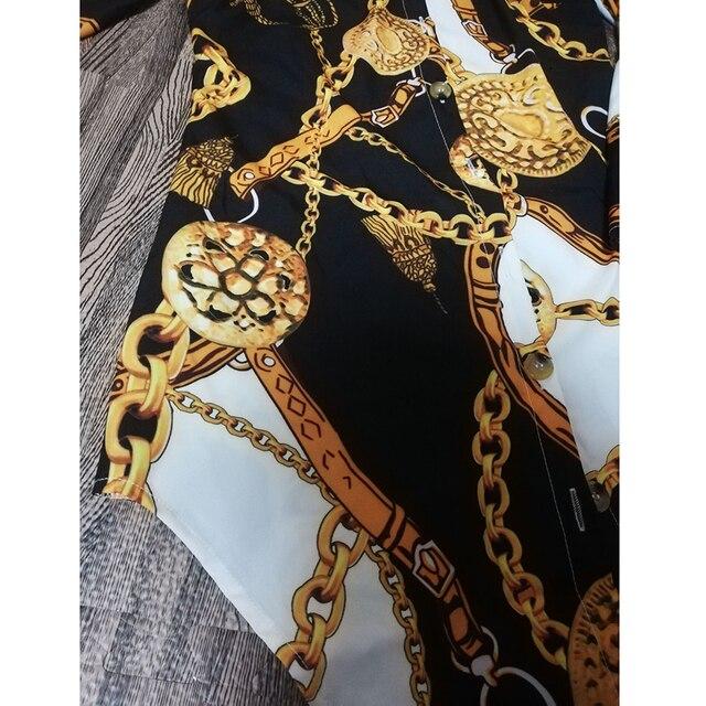 Vestido estampado de encaje para mujer, ropa Sexy para discoteca, corta, dobladillo de curva, estampado de cadena, cinturón, informal, camisa, variedad opcional 6