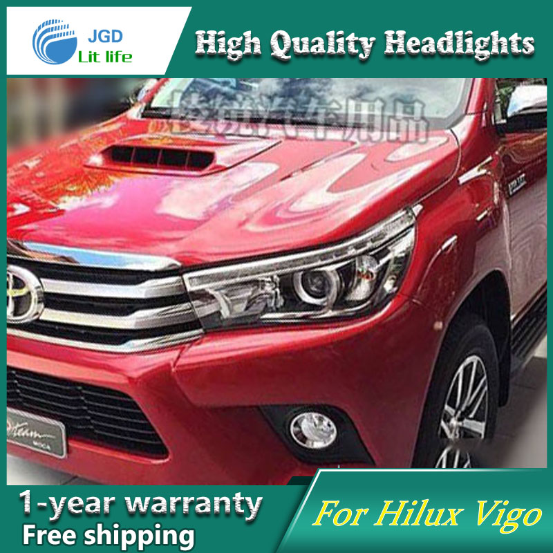цена на high quality Car styling case for Toyota Hilux Vigo 2016 Headlights LED Headlight DRL Lens Double Beam HID Xenon car accessories