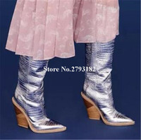 Brand Fashion Pointed Toe Snake Leather Patchwork Chunky Heel Knee High Boots Slip on Gold Silver Blue Spike Heel Long Boots