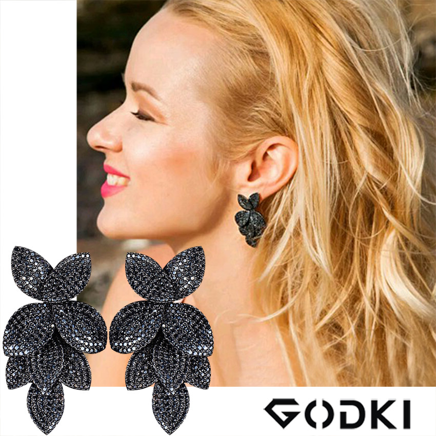 GODKI Famous Brand Spring Luxury Leaf Leaves Flower Collection Earring For Women Wedding Bridal  Full Micro Cubic Zircon Jewelry