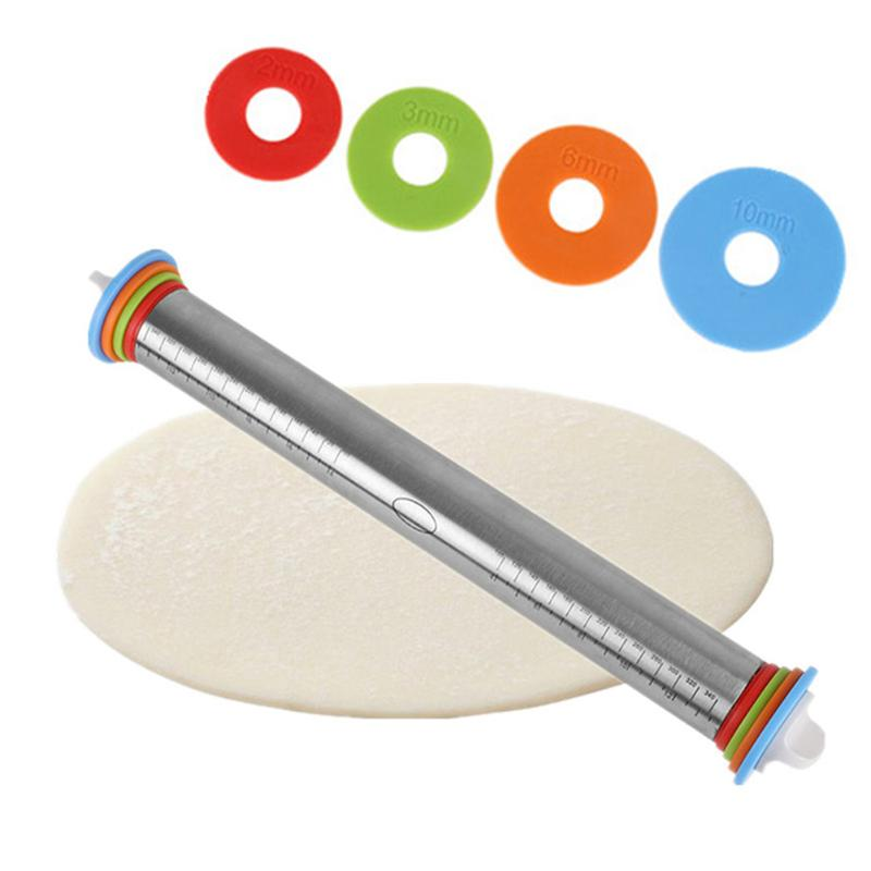 1pc Length Adjustable Rolling Pin Stainless Steel Discs Non-Stick Removable Rings Dough Dumplings Noodles Pizza Baking Tools