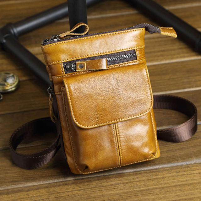 Men's Genuine Leather Cowhide Belt Hook Fanny Waist Bag Cell/Mobile Phone Case Purse Cross Body Messenger Shoulder Hip Bum Pack
