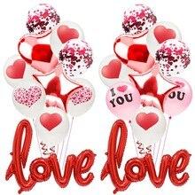 Романтическая годовщина свадьбы Я ЛЮБЛЮ ТЕБЯ воздушные шары набор воздушные шары с сердцем День Святого Валентина украшения для него вечерние любовь красный шар