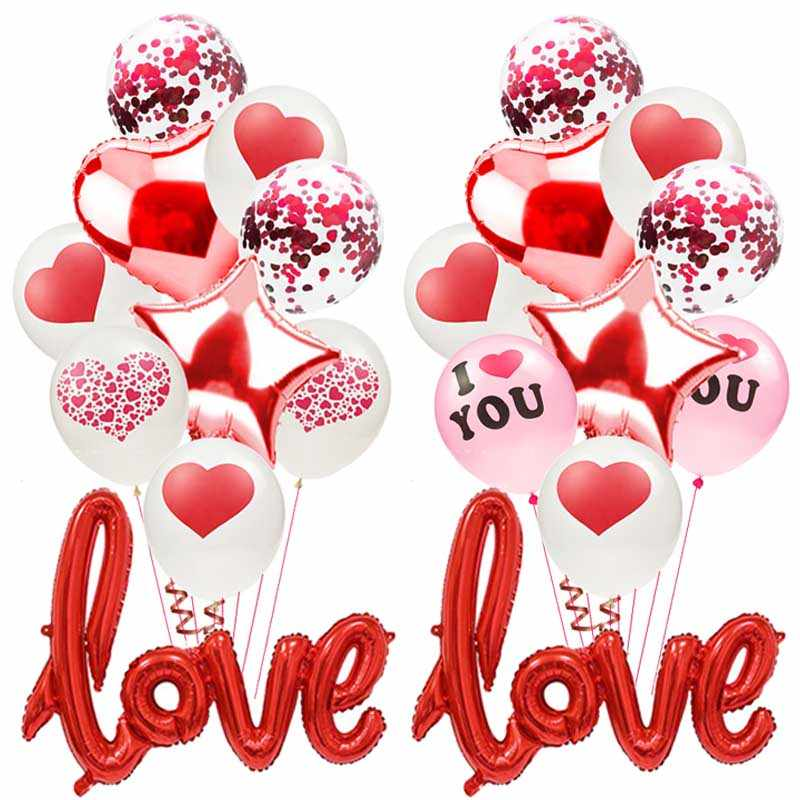 Romantic Anniversary Wedding Love Balloons Set Foil Heart Wedding Ballons Valentine Day Decorations For Party Baloes Red Balls