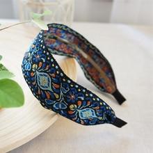 Nyeste Kvinder Bohemian Kvinder Etnisk Broderet Ribbon Hairbands Hovedbånd Hår Tilbehør Smuk Etnisk Mønster Bred Turban