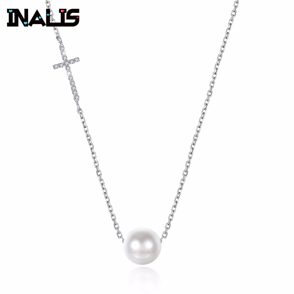 New Elegant Long Chain Necklace S925 Sterling Silver Inl Cross Shape Micro Paved CZ Stone with Single Pearl Pendant