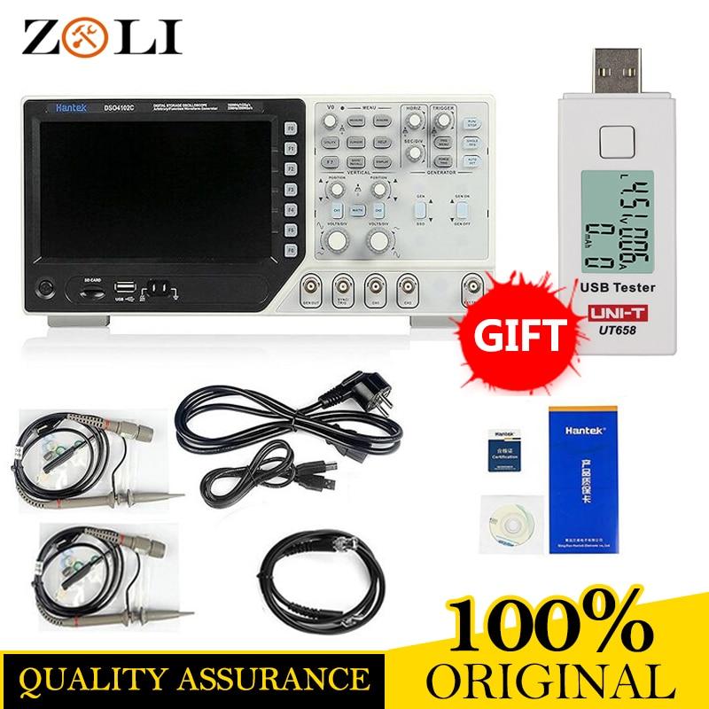 DHL Livraison Hantek Oscilloscope Portable Paillasse DSO4102C 2ch 100 MHz USB Oscilloscopes Arbitraire/Fonction Générateur de Signaux