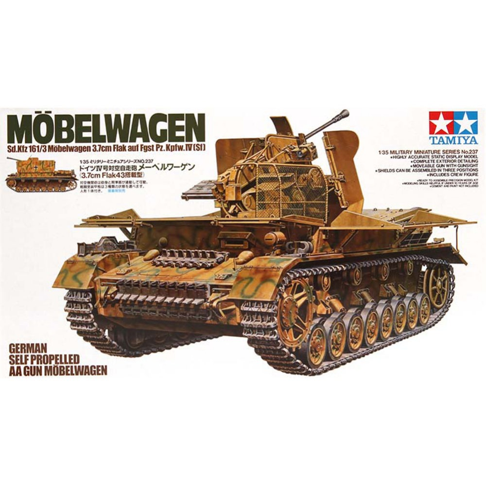 OHS Tamiya 35237 1/35 German Self Propelled AA Gun Sd Kfz 161/3 37mm Flak 43 Military Assembly AFV Model Building Kits G 1 35 assembly german sd kfz 250 9 a fire artillery armored vehicle 6882