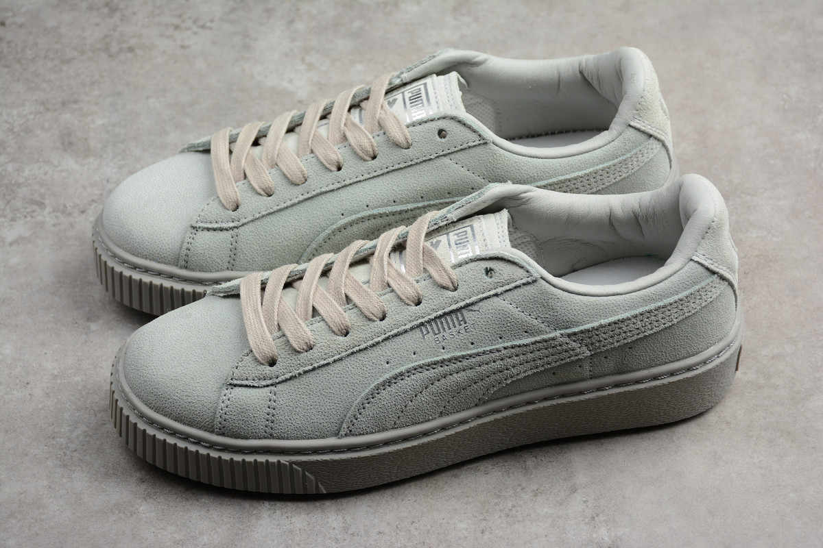9f1a69b1cc1 2018 PUMA Basket Platform Reset Wn s Gray Violet Men s and Women s Sneaker  Badminton Shoes Size 36